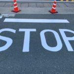 稲沢市にて道路のライン引き